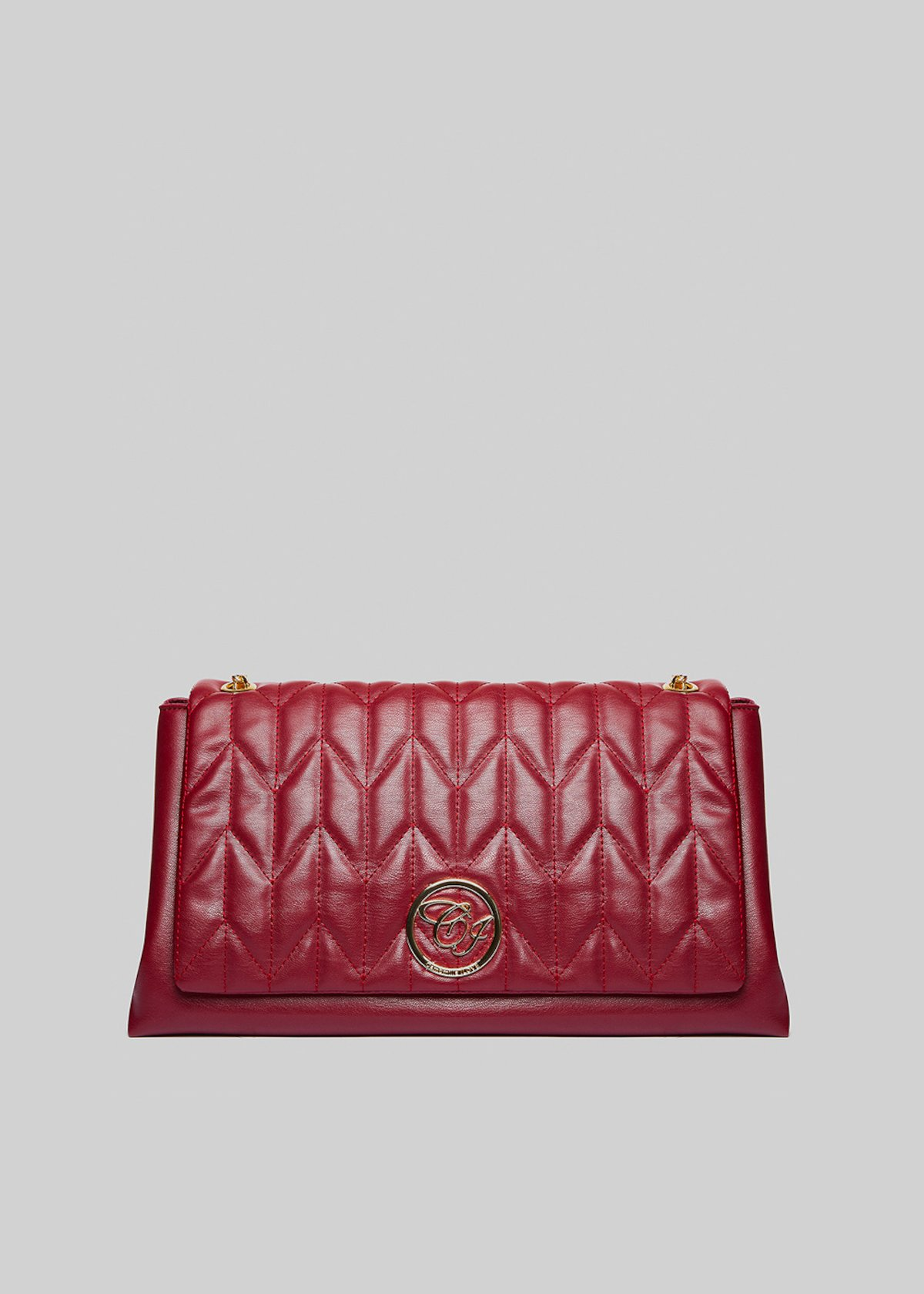 Handbag Belia in ecopelle con tracolla a catena - Bordeaux