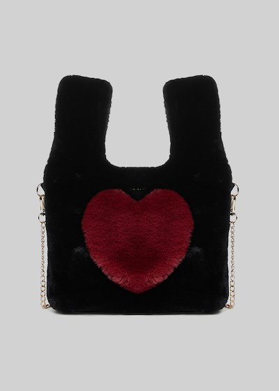 Balla ecofur bag  with heart detail in chili color