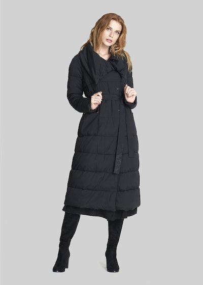 Extra long Palmer down jacket with waist belt