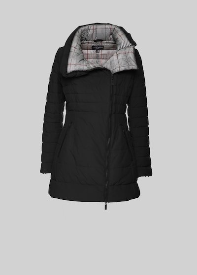 Prisk Long down jacket with checked lining