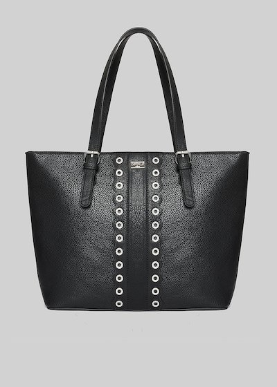 Barnie shopping bag of faux leather with eyelets