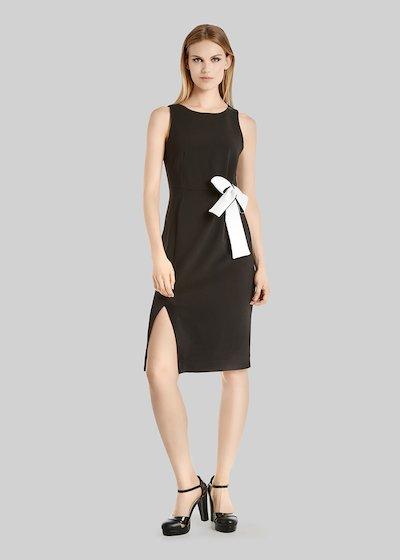 Alessiocrépe dress with bow at waist and side slit