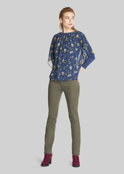 T-shirt Susanna dal motivo micro-floral in jersey e georgette