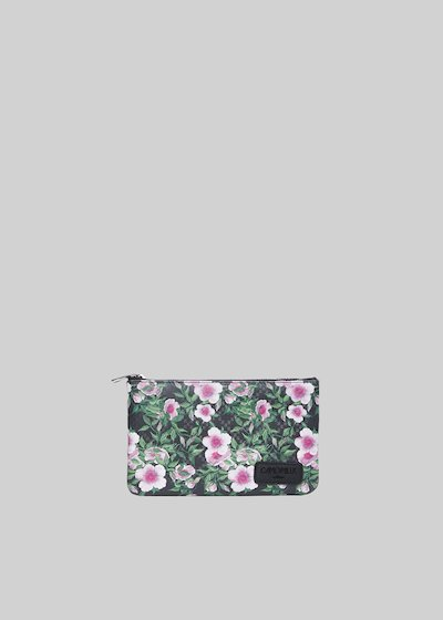 Tongaflo4 clutch bag in faux leather pink flowers print