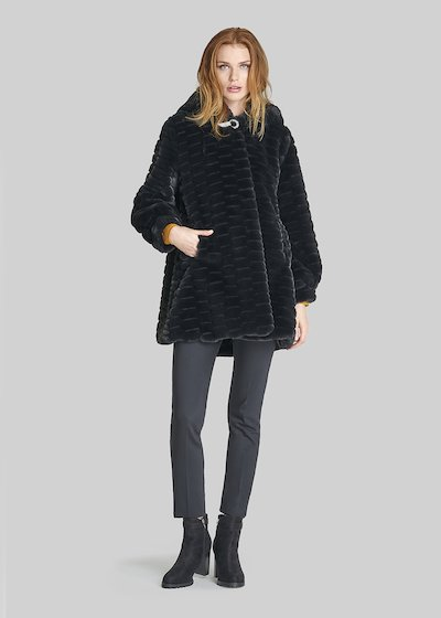 Faux fur Charles coat with hood and rhinestones hook.