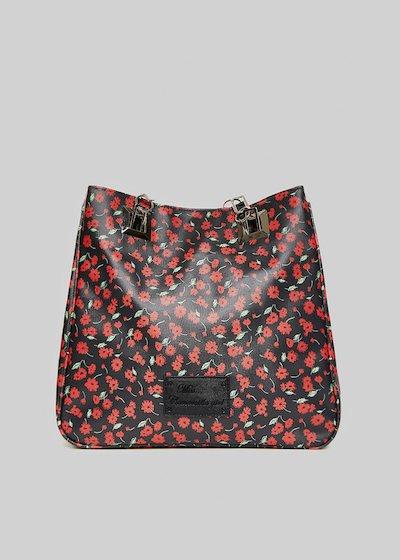 Mmissflo2 flowers print shopping bag with double handles