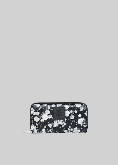 Pretty3 wallet in faux leather peach flowers print