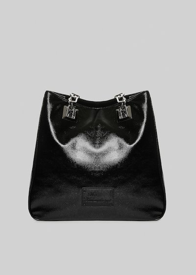 Shopping bag Mmissmeta in ecopelle metal total black