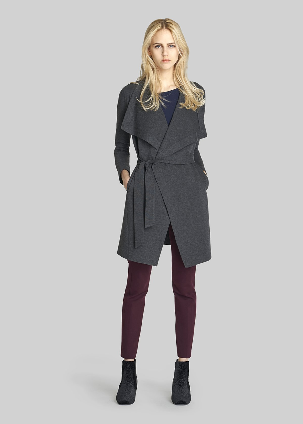 Tiziano trench coat with waist belt - Dark Grey Melange