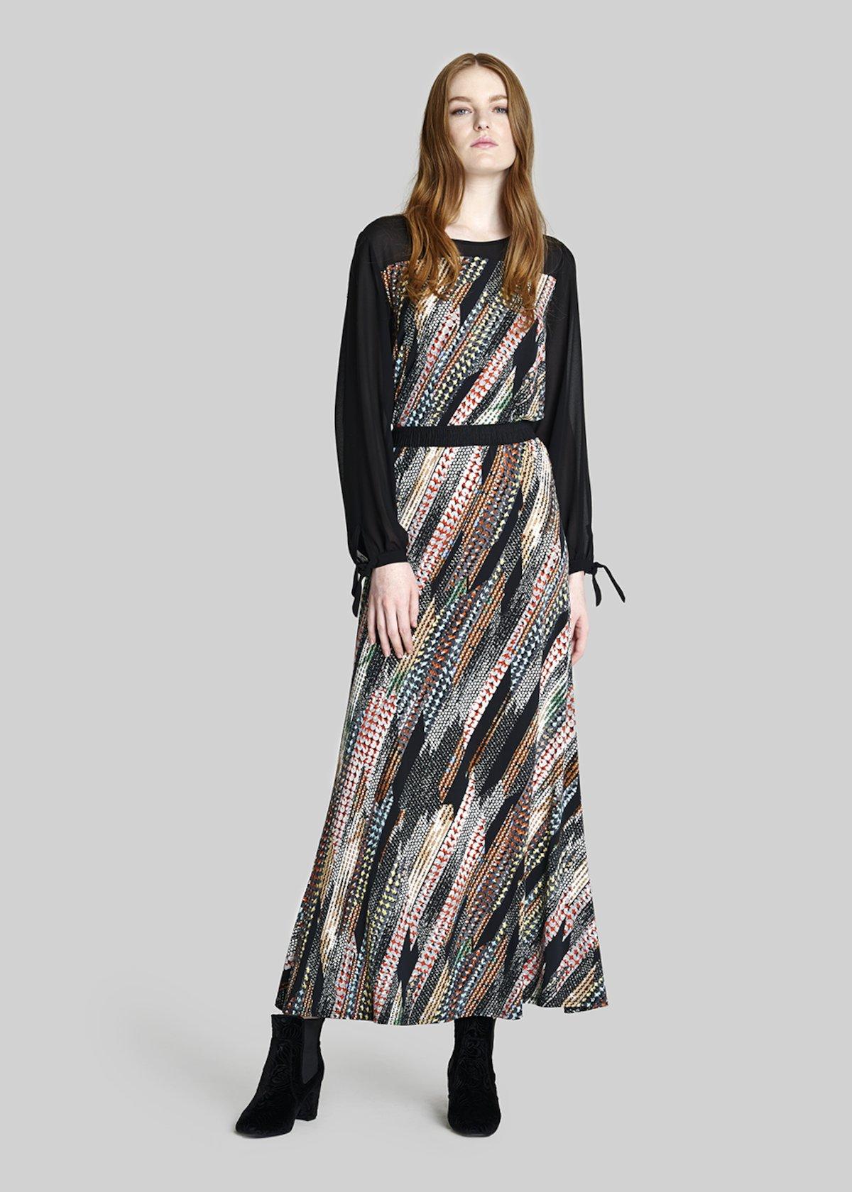 Gabriel jersey skirt dots fusion pattern - Black / Grey Fantasia