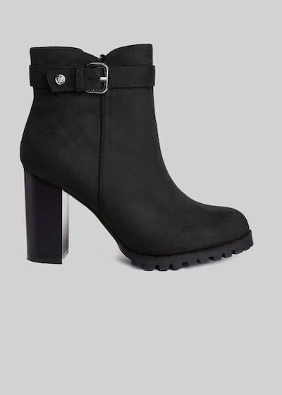 Shoma imitation Suede Ankle Boots with black heel