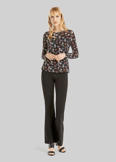 Pantaloni Parides in scuba crepe modello zampa