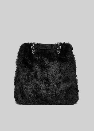 Blond shopping bag with faux fur and faux leather effect