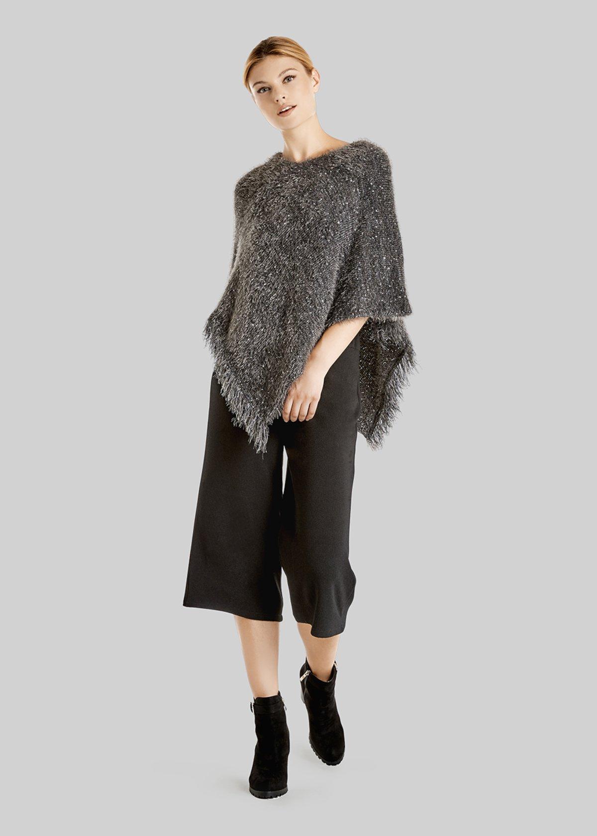 Poncho Marielle in maglia effetto lurex - Dark Grey - Donna - Immagine categoria