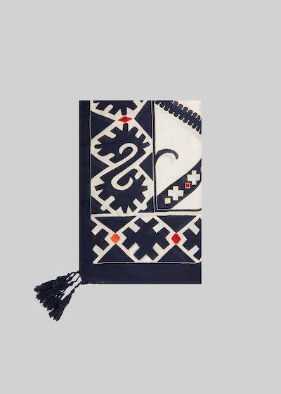 Sciarpa Smoky stampata con decoro nappine