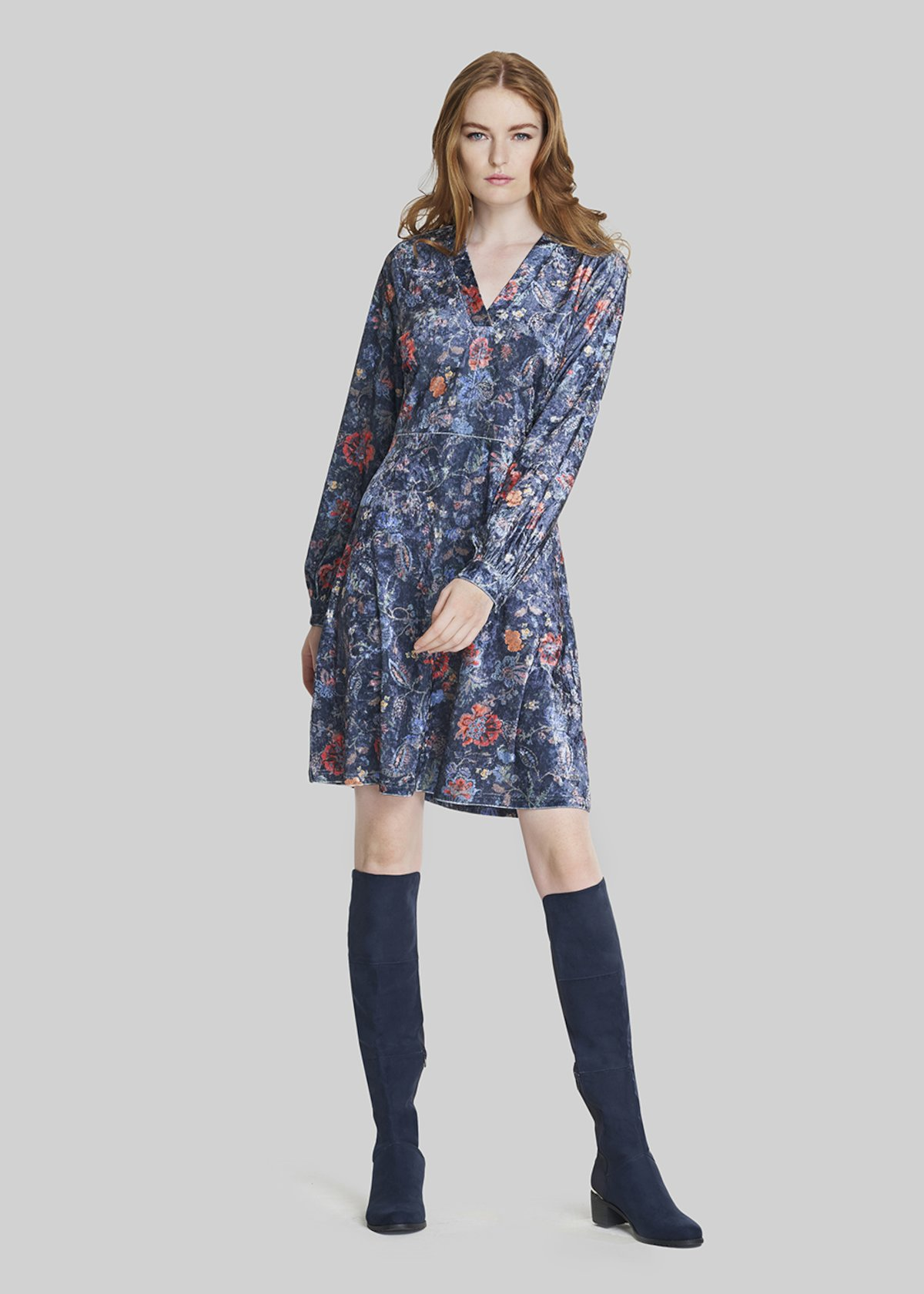 Arley Floral velvet dress - Medium Blue / Redbe / Fantasia