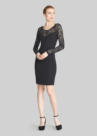 Amely dress with heart neckline and lace detail