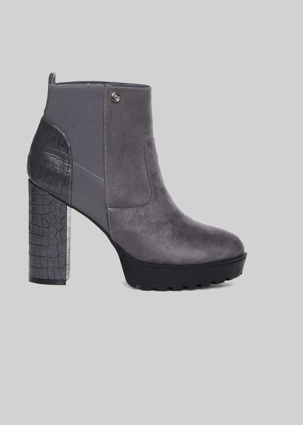 Suamy boots in eco-suede with python print heel - Dark Grey