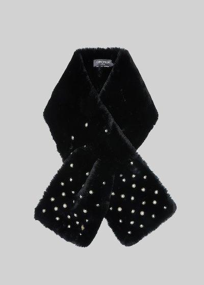 Sciarpa Sanny in fake fur con dettaglio perle white