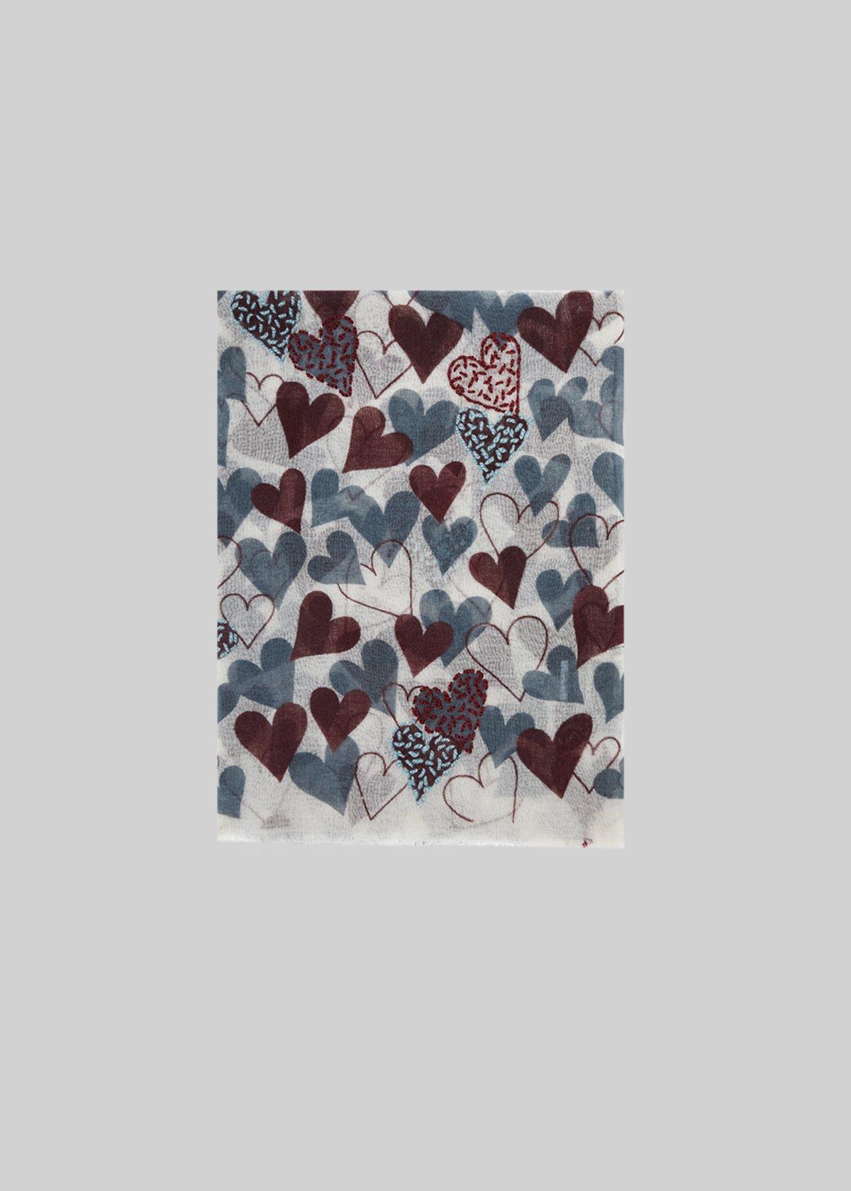 Say scarf in fantasy hearts wool - Garlic Fantasia