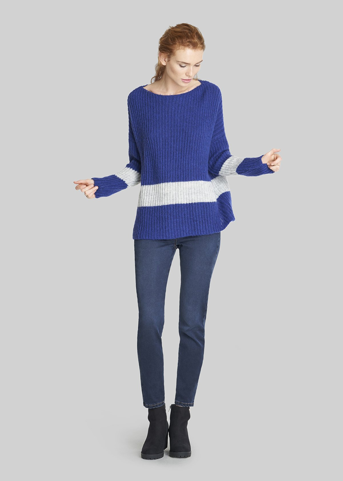 Mattias sweater over fit - Lapis / Light Grey Melange