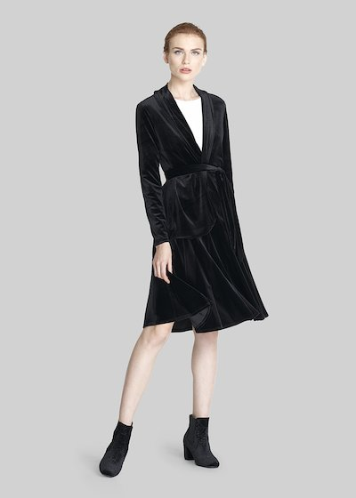 Cler cardigan of velvet with lapels and belt
