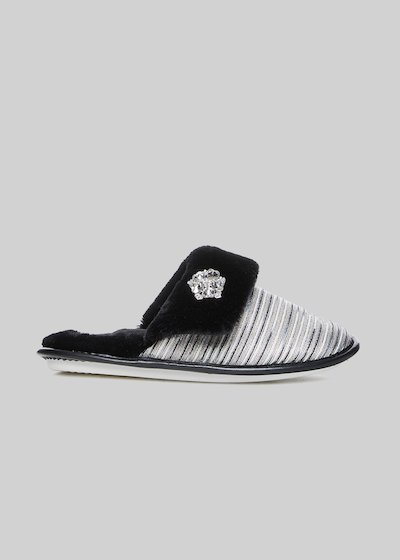 Perseo slippers with lurex piping detail