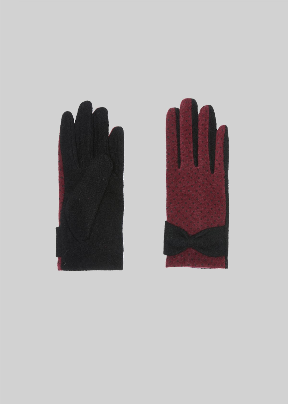 Gioele gloves with polka dot print - Black /  Bordeaux Pois