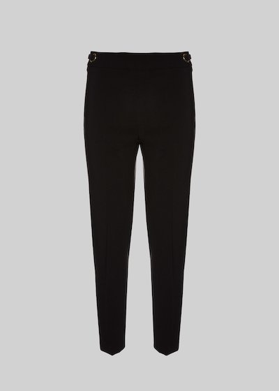 Peride trousers of technical fabric with double punched eyelet detail
