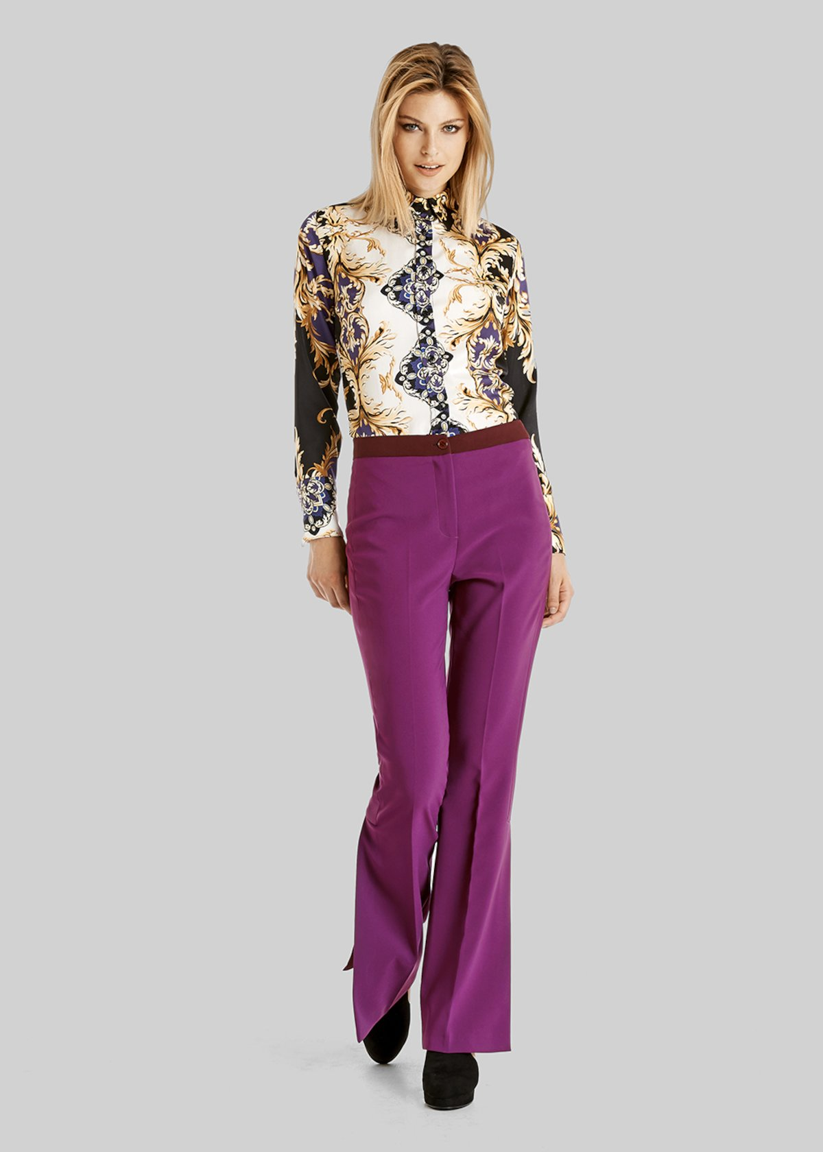 Pammy flared trousers of technical fabric with side slit - Cardinal\ Purple