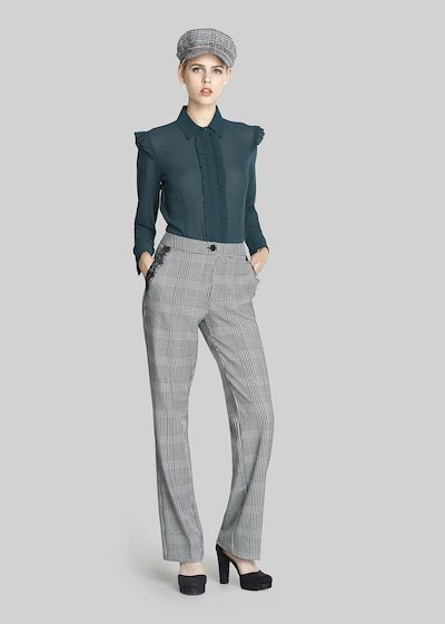 Pixy trousers check pattern with lace decorations