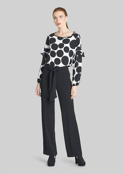 Blusa in crépe Catty dalla fantasia a pois con perline