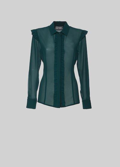 Camicia Carola a maniche lunghe con rouches e pizzo