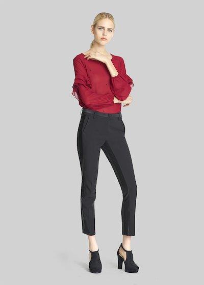 Pantaloni Polide a gamba slim con inserti in raso