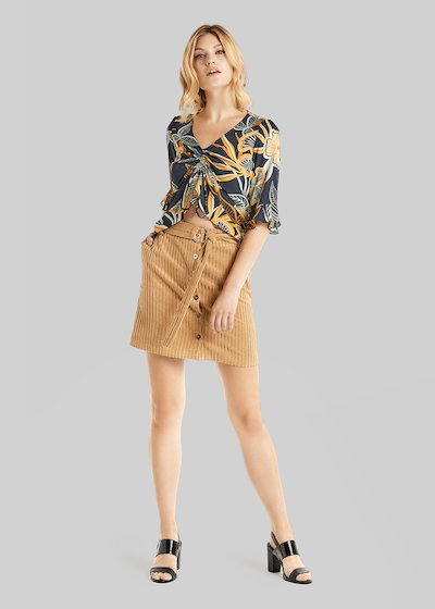 Giusy corduroy mini skirt with belt