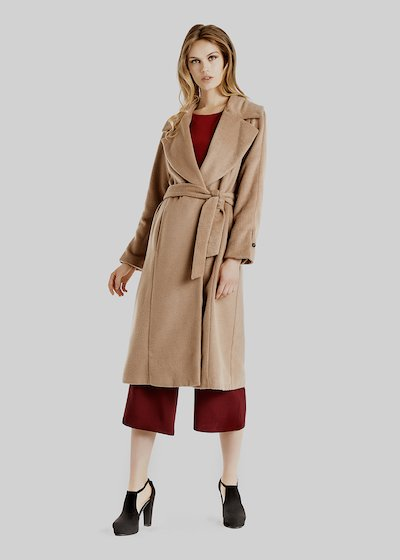 Carter coat with fur effect and belt at the waist