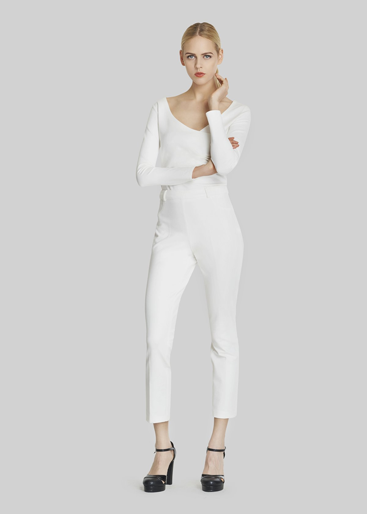 Pampero trousers with side zipper closure - White - Woman - Category image