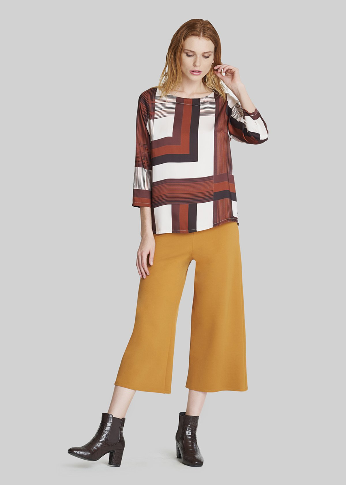Pixel palazzo trousers - Curry
