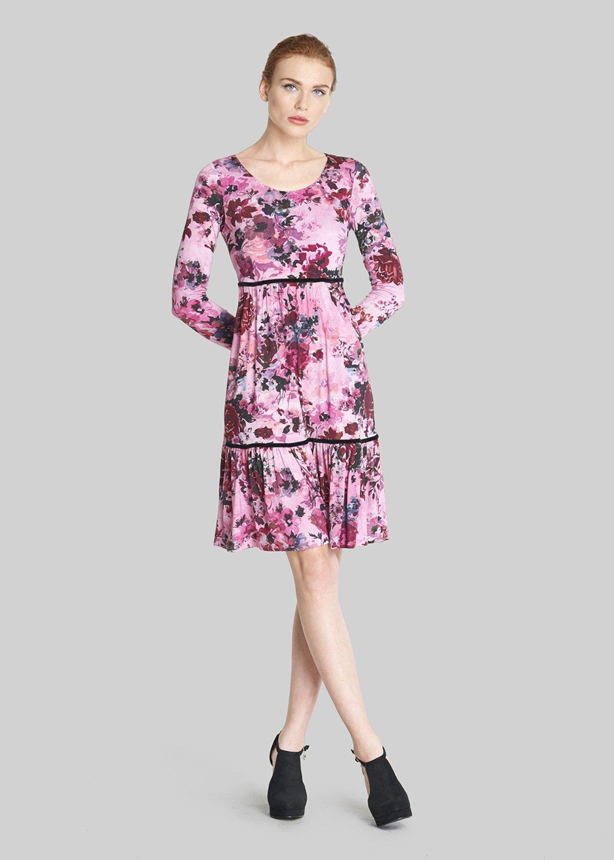 Amor dress with frill and velvet detail - Dark Sepia Fantasia