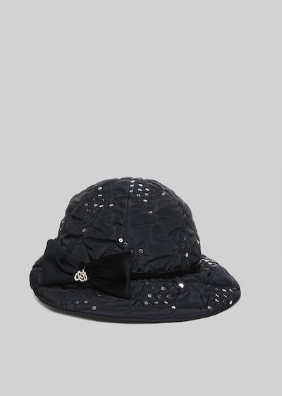 Crash Cropped padded nylon hat with bow detail