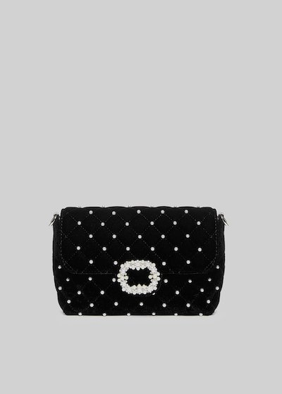 Blinny clutch bag with central buckle of pearls