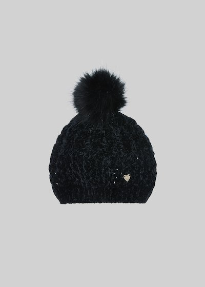 Clivy hat with velvet effect and pompoms