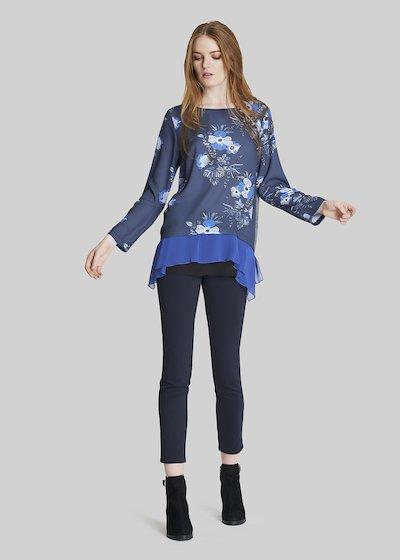 T-shirt Sofy con print floreale e balze in georgette