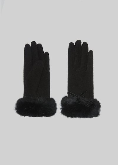 Gliss gloves with fur border and bow