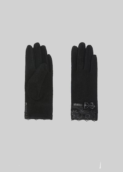 Guenda wool gloves with lace and bow