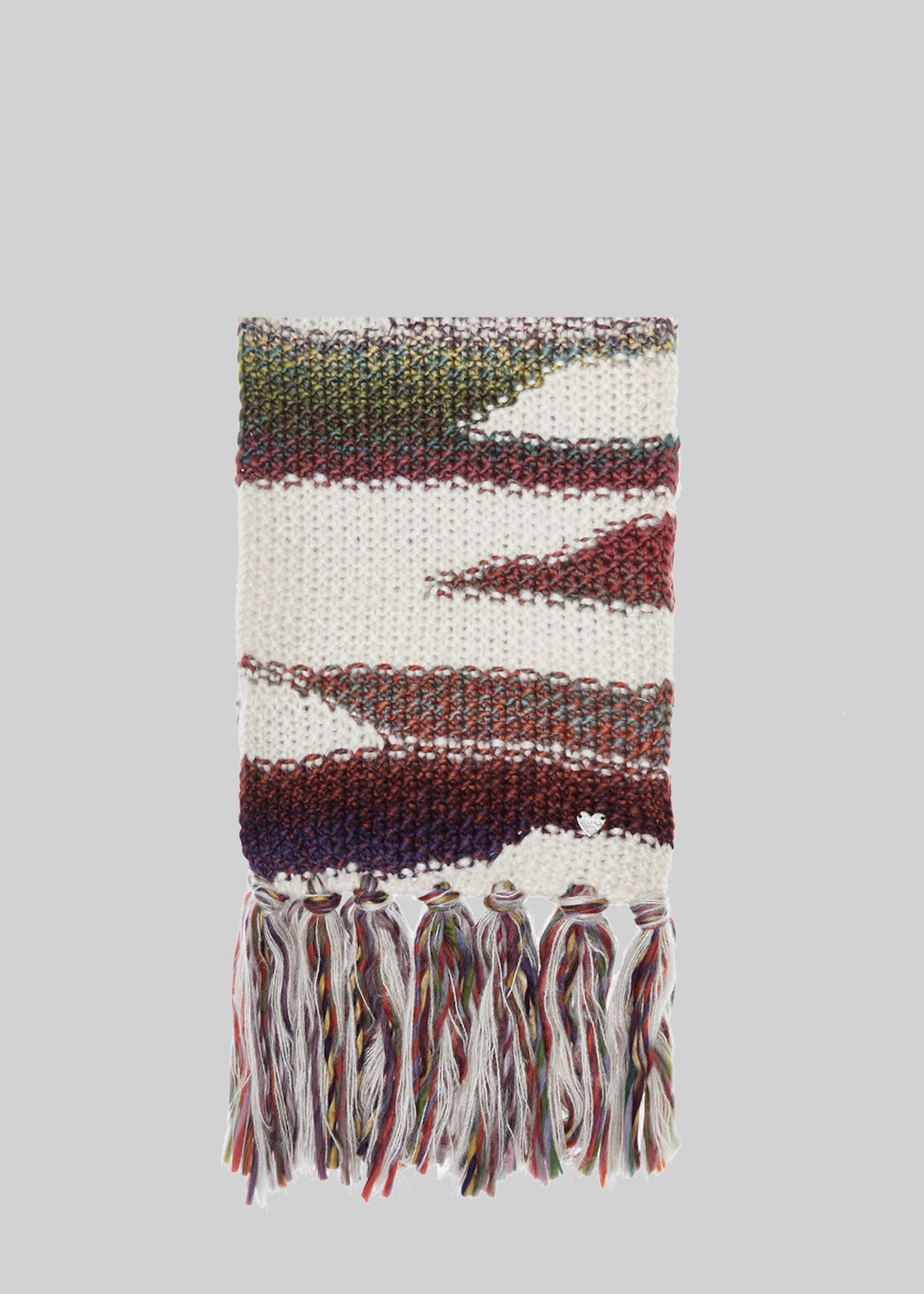 Scot scarf with multicolor stripes - White Fantasia