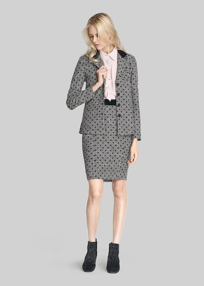 Giada jacket polka dot check pattern and velvet details