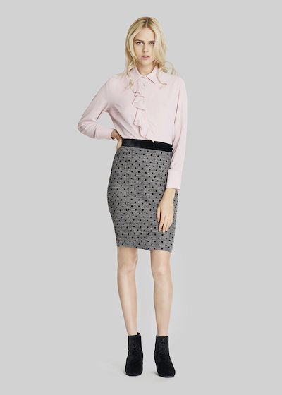 Glen jeggings polka dot skirt with velvet bustier