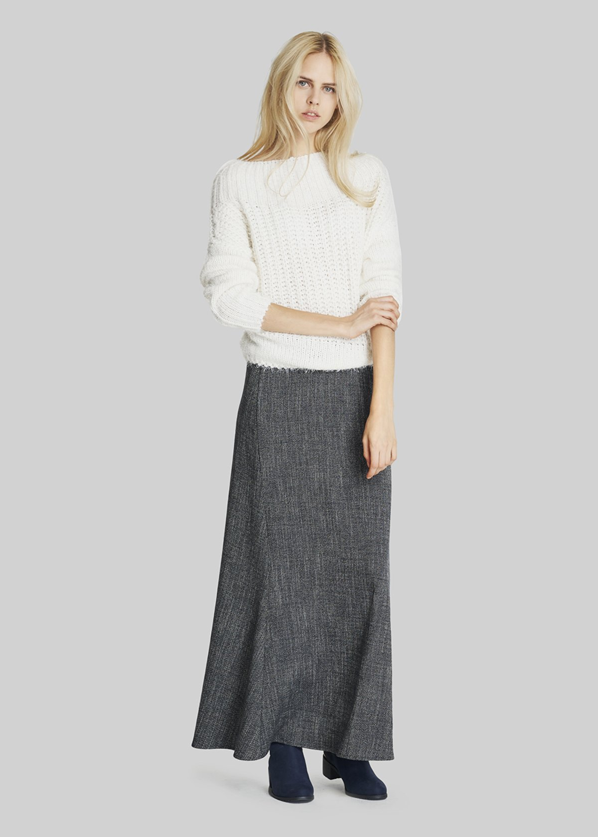 Grisel long tweed fabric skirt