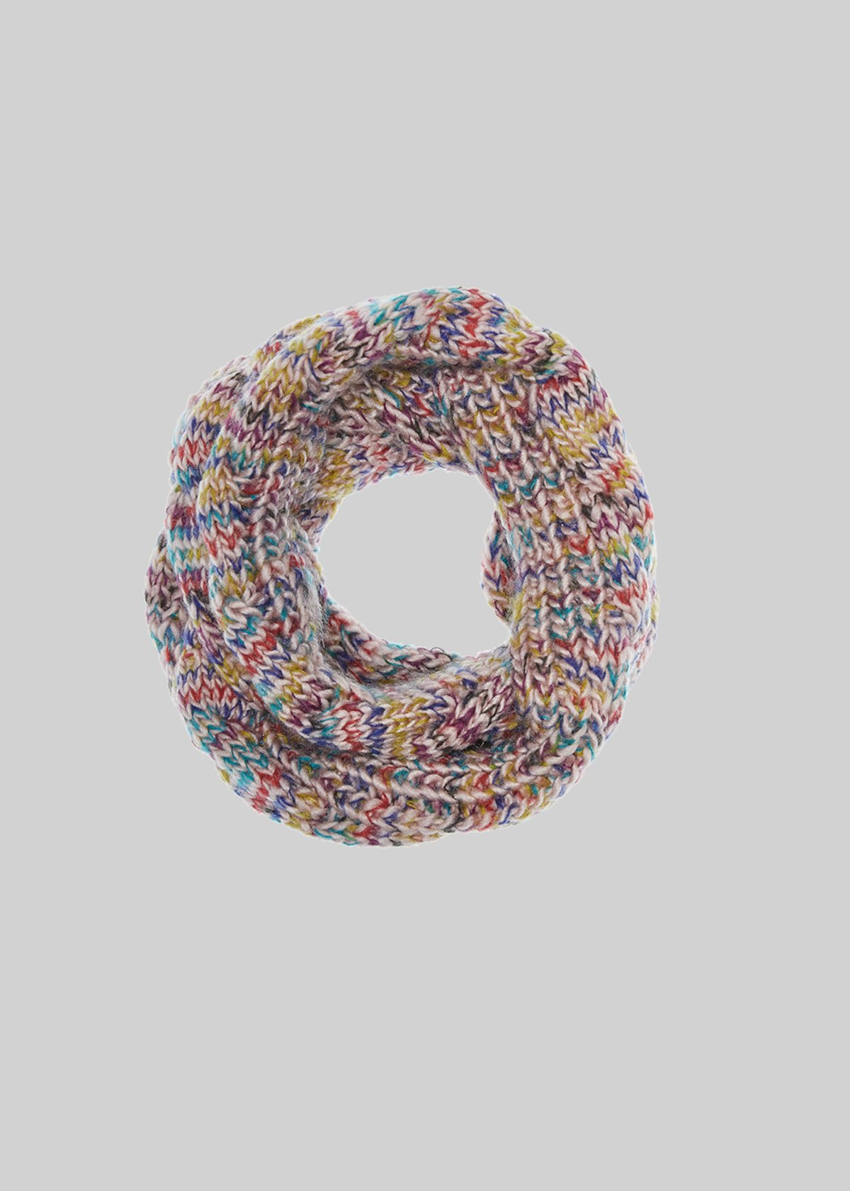 Shane infinity scarf in multicoloured braided knitted fabric